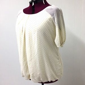 2XL DRESS BARN Cream Studded Semi Sheer Blouse